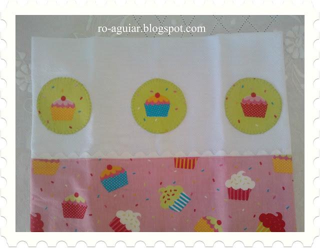 pano-de-prato em patch-apliqué - cupcake