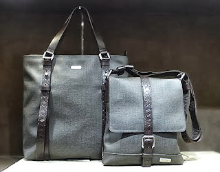 Salvatore Ferragamo Tote and Newspaper Bag in coated canvas.
