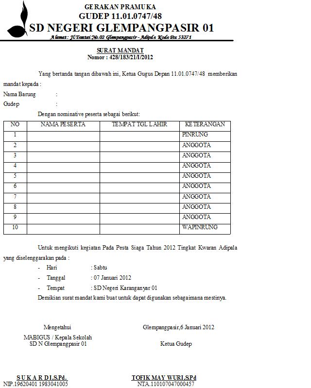 Operator Adipala Contoh Surat Administrasi Pesta Siaga