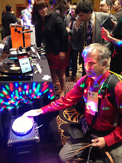 Mike with the ION Audio 50 watt speaker with the multi-colored lights
