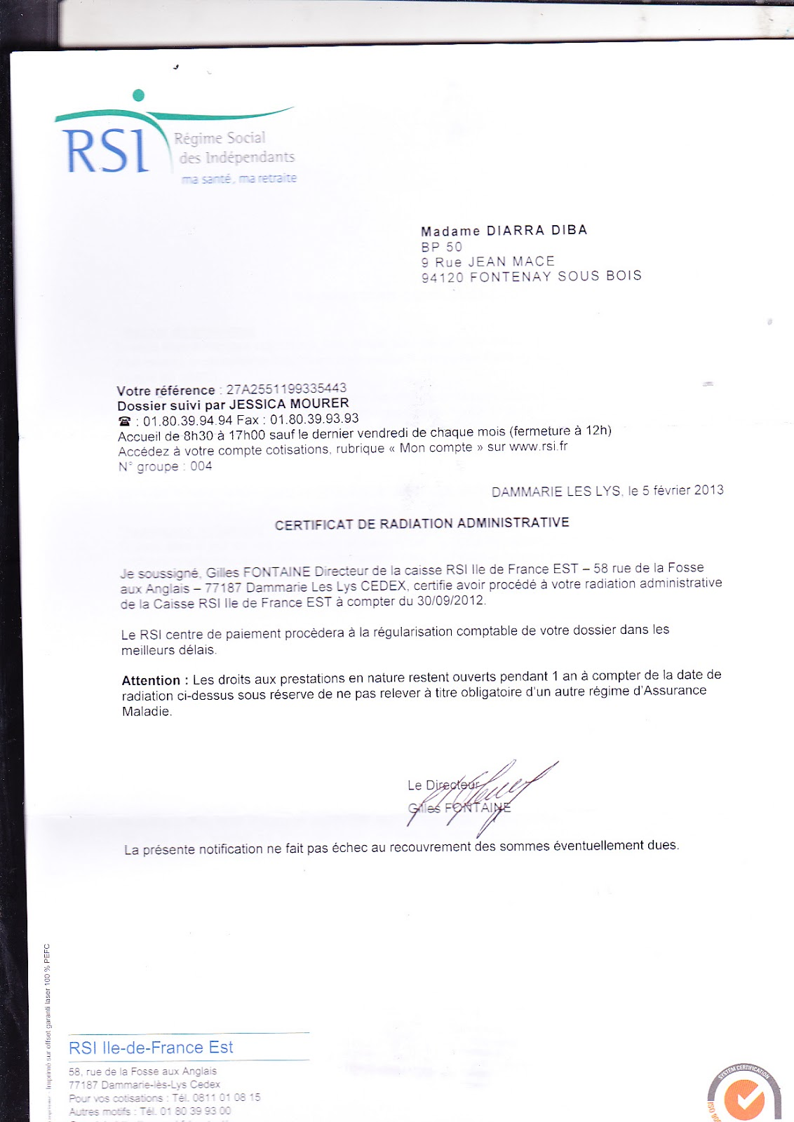 certificat de radiation rsi