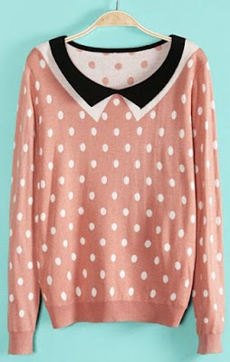 cichic-pink-polka-dot-collar-sweater
