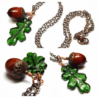 Lampwork glass 'Acorn & Oak Leaf' necklace by Laura Sparling