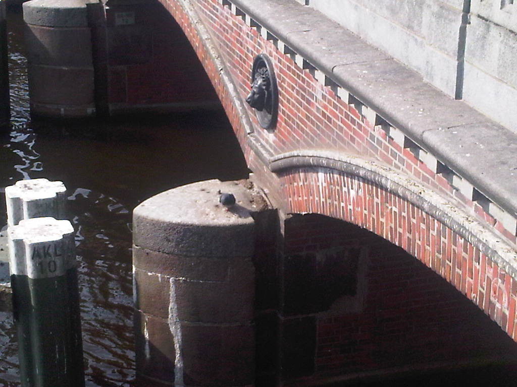 Löwe  und Taube auf der Alster. Taube sitze auf Säule einer Brücke. Darüber Löwenkopf