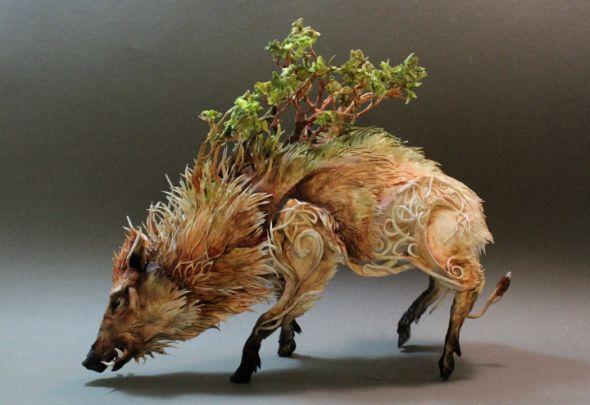 Ellen Jewett CreaturesFromEl deviantart esculturas surreais mixed animais Javali
