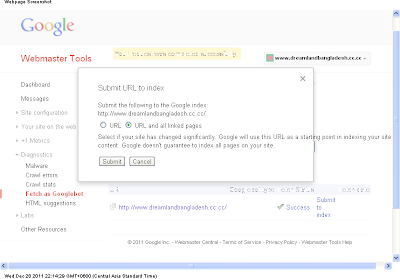 Webmaster Tools Fetch as Googlebot url submission success