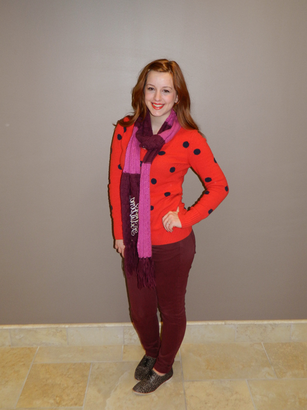 Gap polka dot sweater Mixing colors Pink Maroon Red Outfit