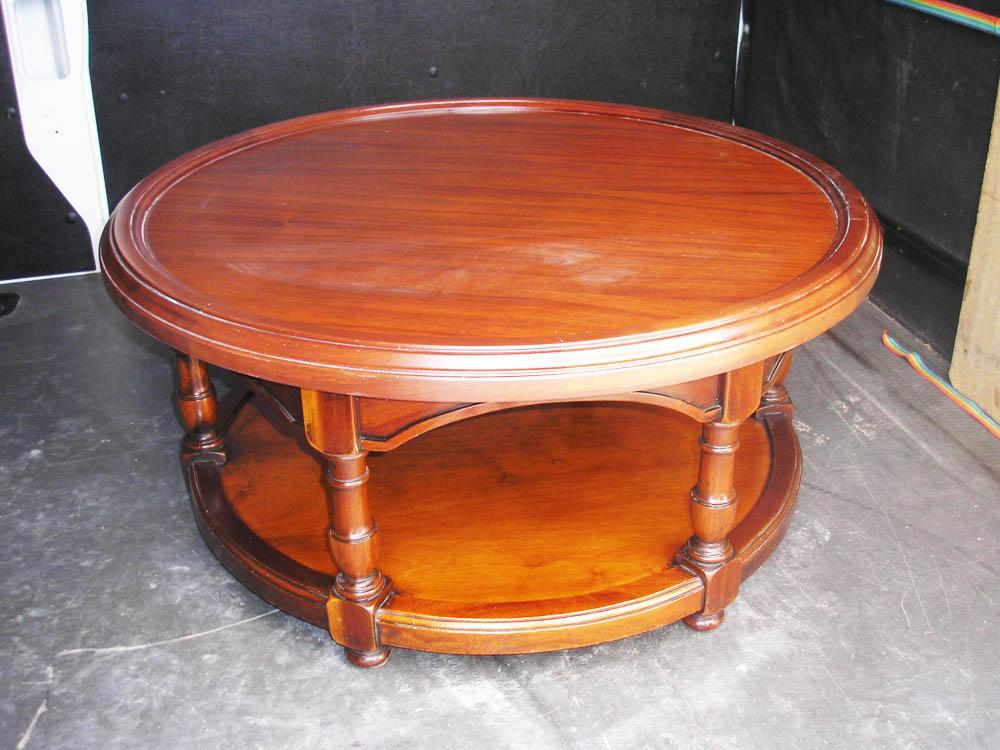 Mesita auxiliar redonda en madera de nogal muebles - Muebles en cuellar ...