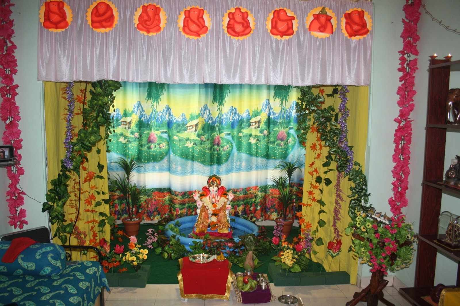 Festival dhamaal ganapati decoration at home for Artificial flower decoration for ganpati