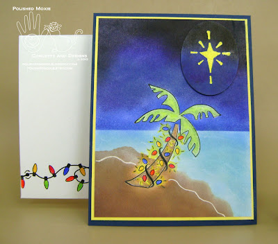 Picture of my completed handmade palm tree Christmas card and its coordinating envelope.