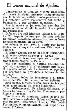 Recorte de La Vanguardia sobre el Torneo Nacional de Ajedrez Barcelona 1926, 26/9/1926