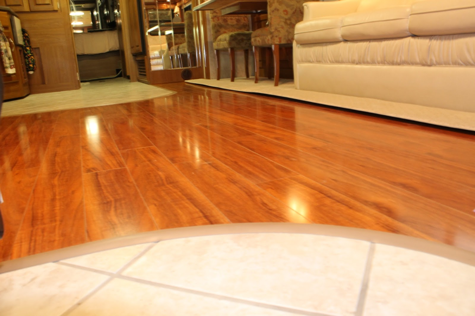 Countryside interiors transforming rvs and trailers for Rubber hardwood flooring