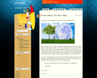 Surf Day Blogger Template