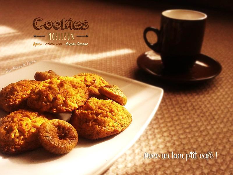 Cookies moelleux aux flocons d'avoine, figues et raisins secs