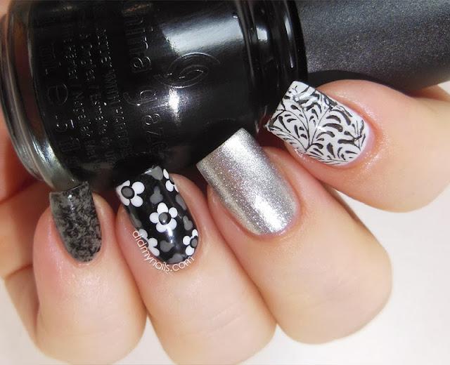 monochrome composite manicure