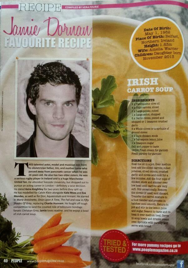 'People Magazine'- La receta favorita de Jamie Dornan