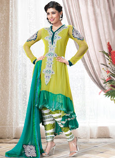 new gorgeous designer anarkali churidar suit in yellow green