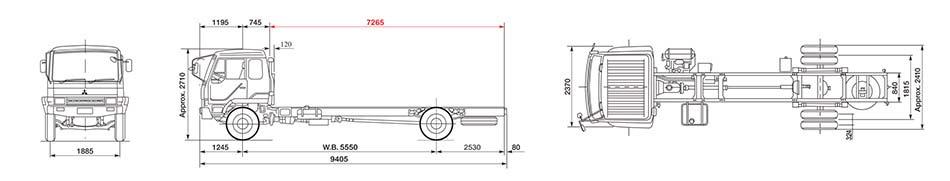 Dimensi Mitsubishi Fuso FM 517 HS 4X2 220 PS Jambi