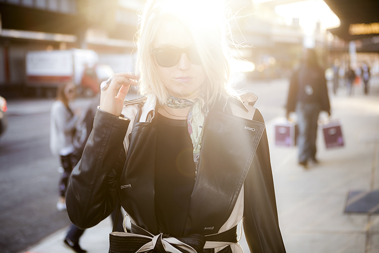 Fashion Over Reason in NYC, golden hour, Liberty London silk scarf