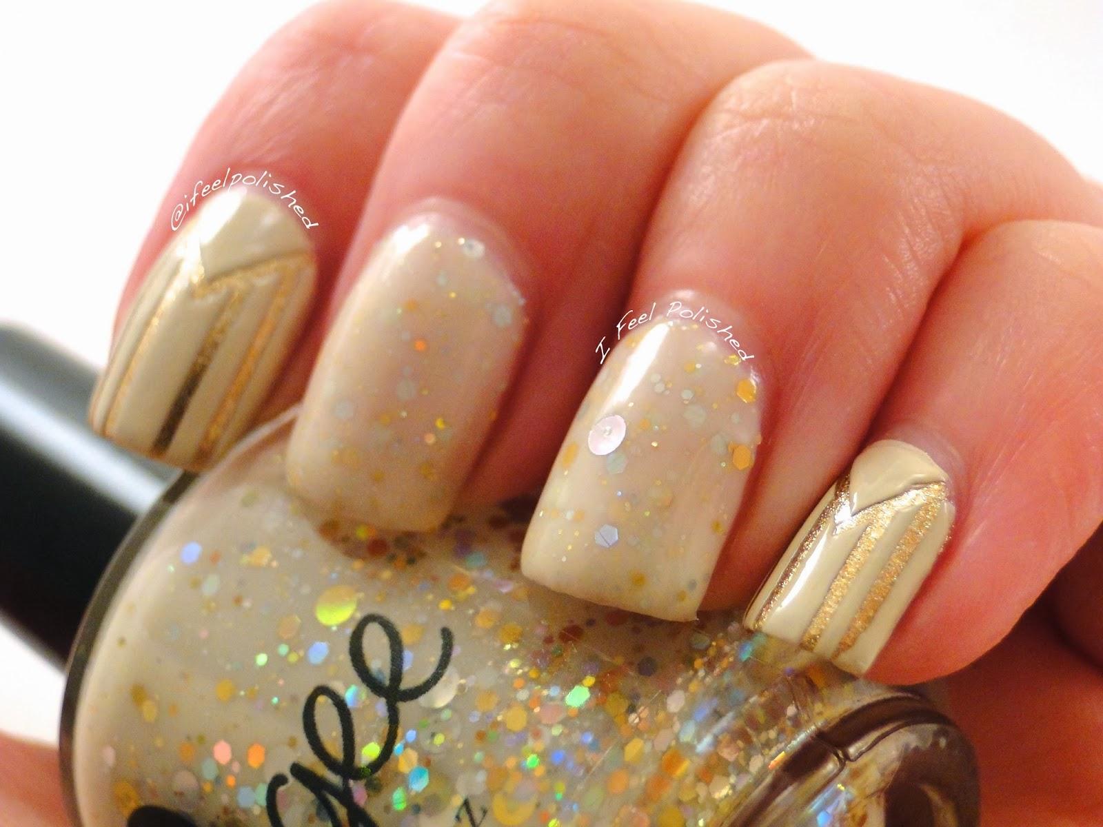 I Feel Polished!: Gold and Ivory Nail Art