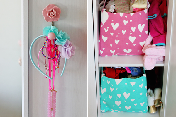 Toddler room style: heart bins & flower hooks to store & display clothes & accessories