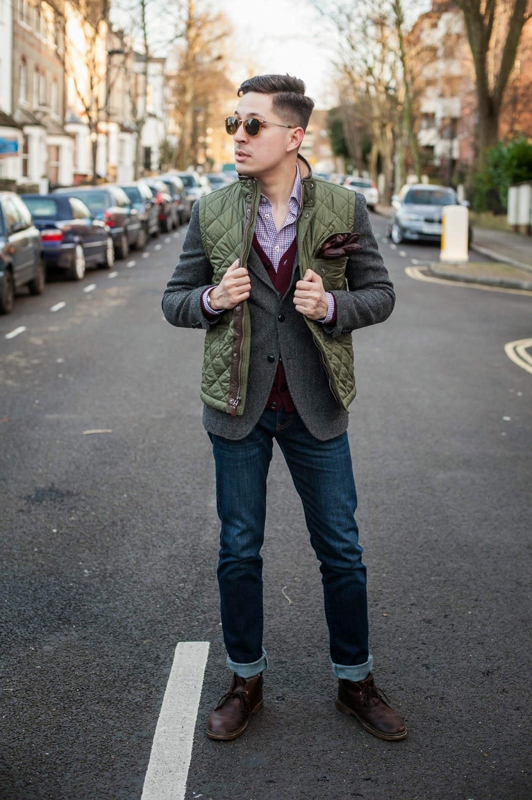 Brooks brothers vest, uniqlo blazer, uniqlo cardigan, herringbone shirt, urban outfitters jeans, clarks shoes, omega watch