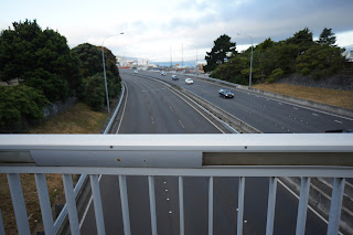 View of the motorway from the bridge