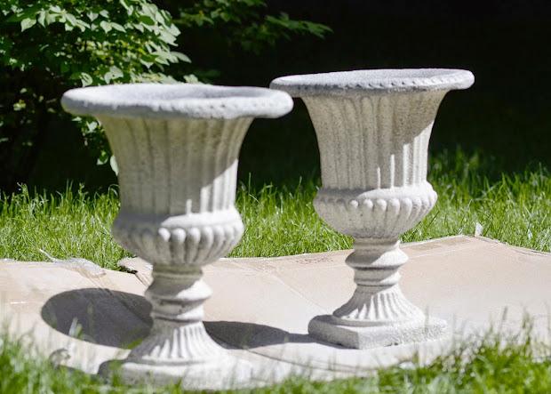 Black and White Planter Urns