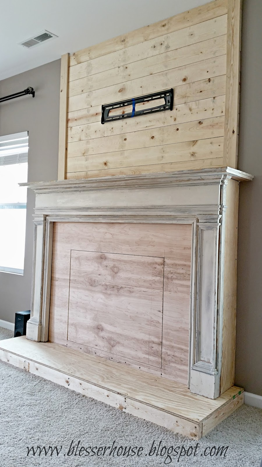 Diy faux fireplace entertainment center part two bless 39 er house - Build sealed fireplace home step step ...