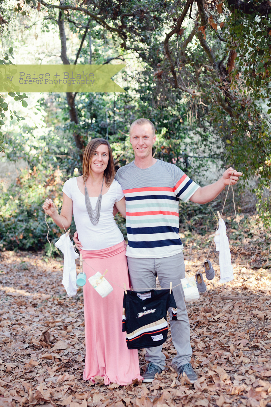 Baby Tom's, Baby Clothesline Prop,  Maternity Announcement  Photo by Paige and Blake Green