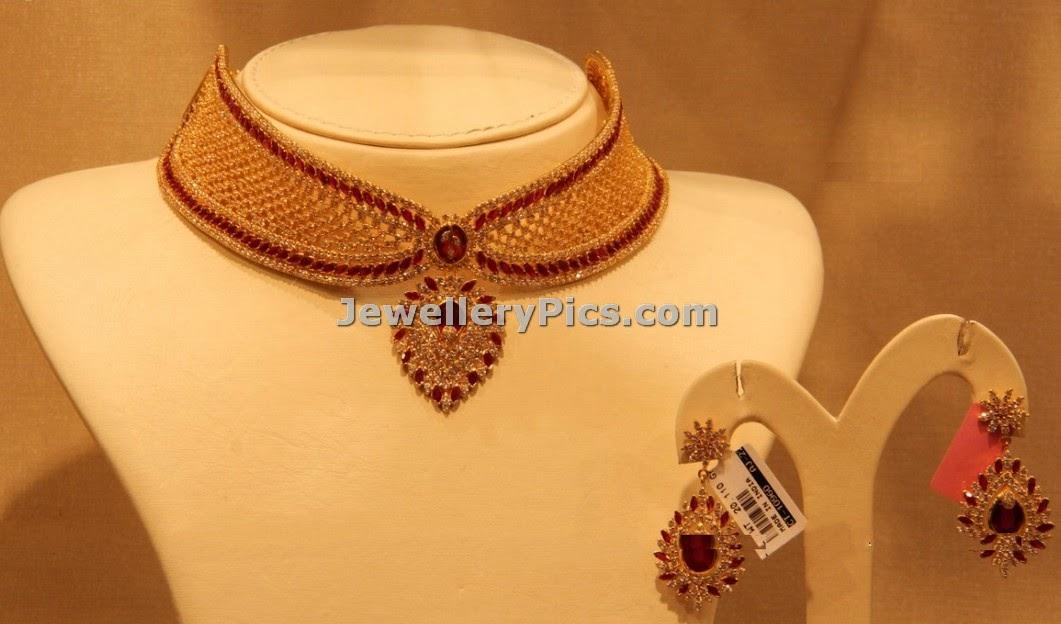 Tie shaped rubies designer choker