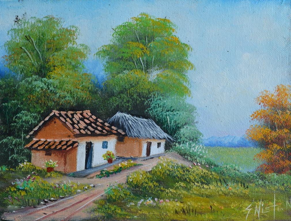 Cuadros modernos pinturas y dibujos galer a paisajes - Casa rural pueblos negros ...