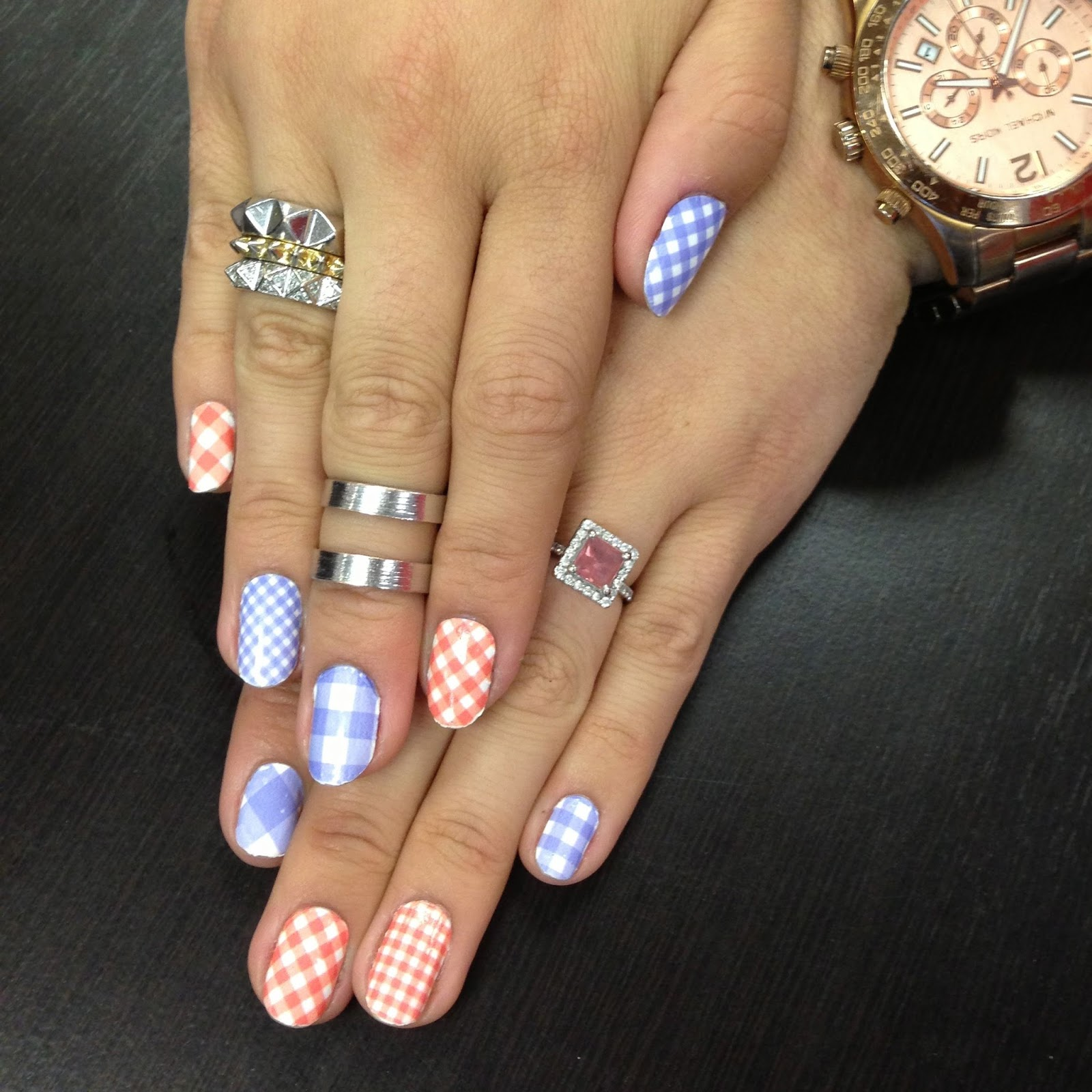 it 39 s because i think too much gingham print nails. Black Bedroom Furniture Sets. Home Design Ideas