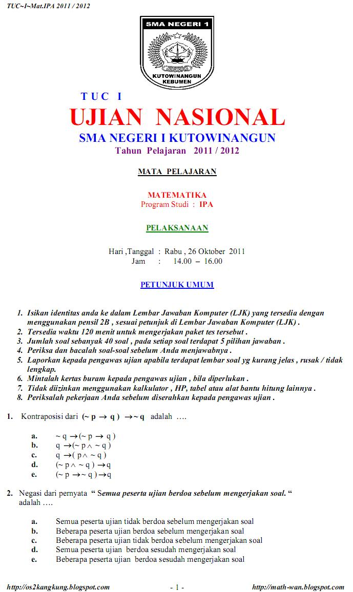 Os2kangkung Prediksi Soal Ujian Nasional Matematika Ipa 2011 2012