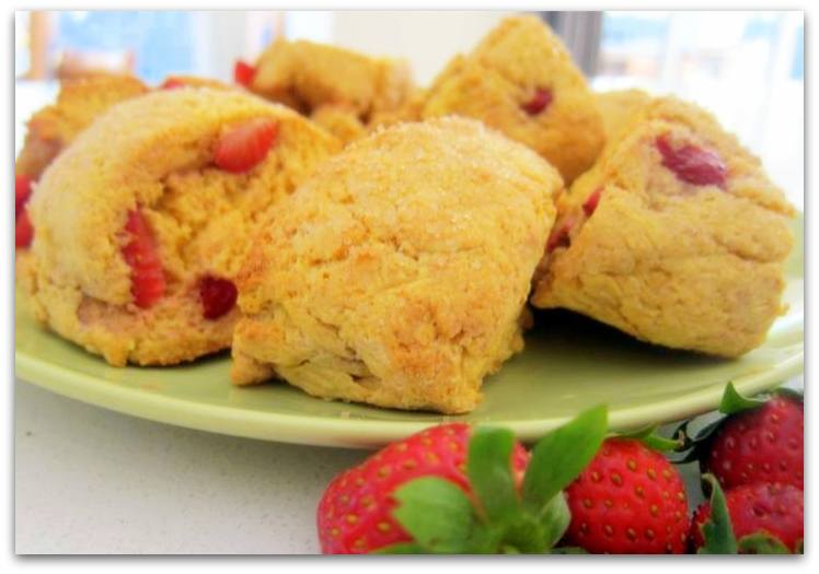 Vanilla Custard and Strawberry Scones