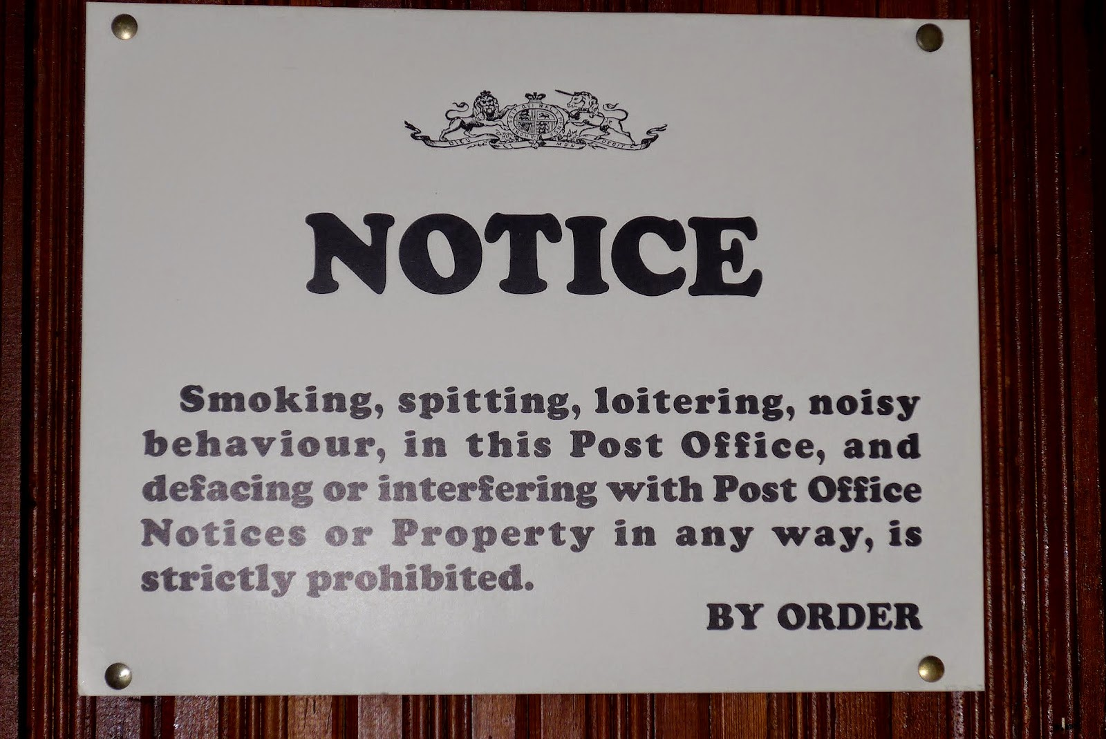 Sign in post office.