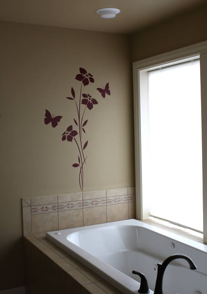Art wall decor bathroom wall stickers for Bathroom wall decor uk