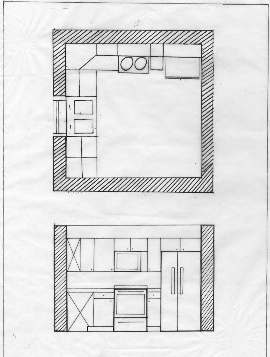 Plan Elevation Label : Naja s kitchen plan and elevations