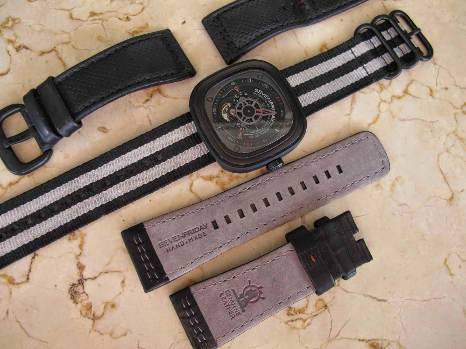 Jadi total 3 strap 2 Strap kulit original Seven Friday dan 1 Nato Strap Very nice and unique Seven Friday Watch Cocok untuk Anda yang sedang