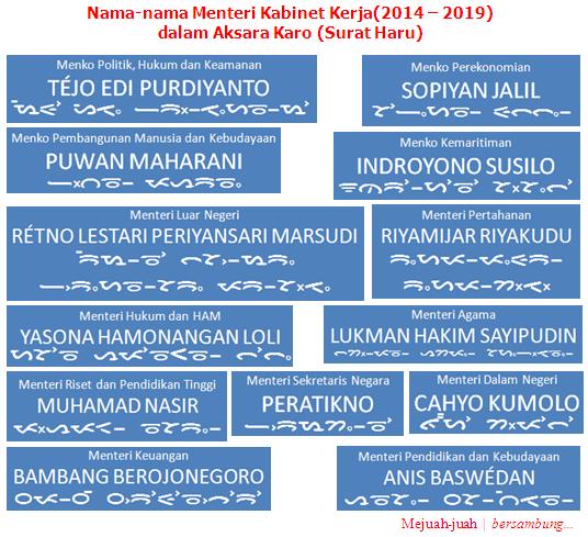 Nama-nama Menteri Kabinet Kerja(2014 - 2019) dalam Aksara Karo(Bagian I) catatan: Nama-nama di atas telah disesuaikan dengan ejaan dalam Bahasa Karo. Mejuah-juah.