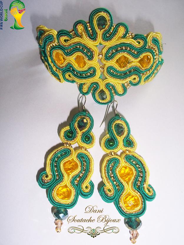 Conjunto de brincos e pulseira em soutache verde e amarelo