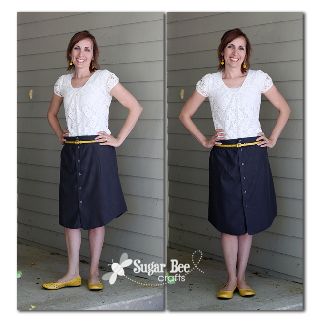 Mens shirt to skirt refashion sugar bee crafts so if youre looking for a quick sewing project for yourself try converting a mens shirt into a skirt you can do it solutioingenieria Images