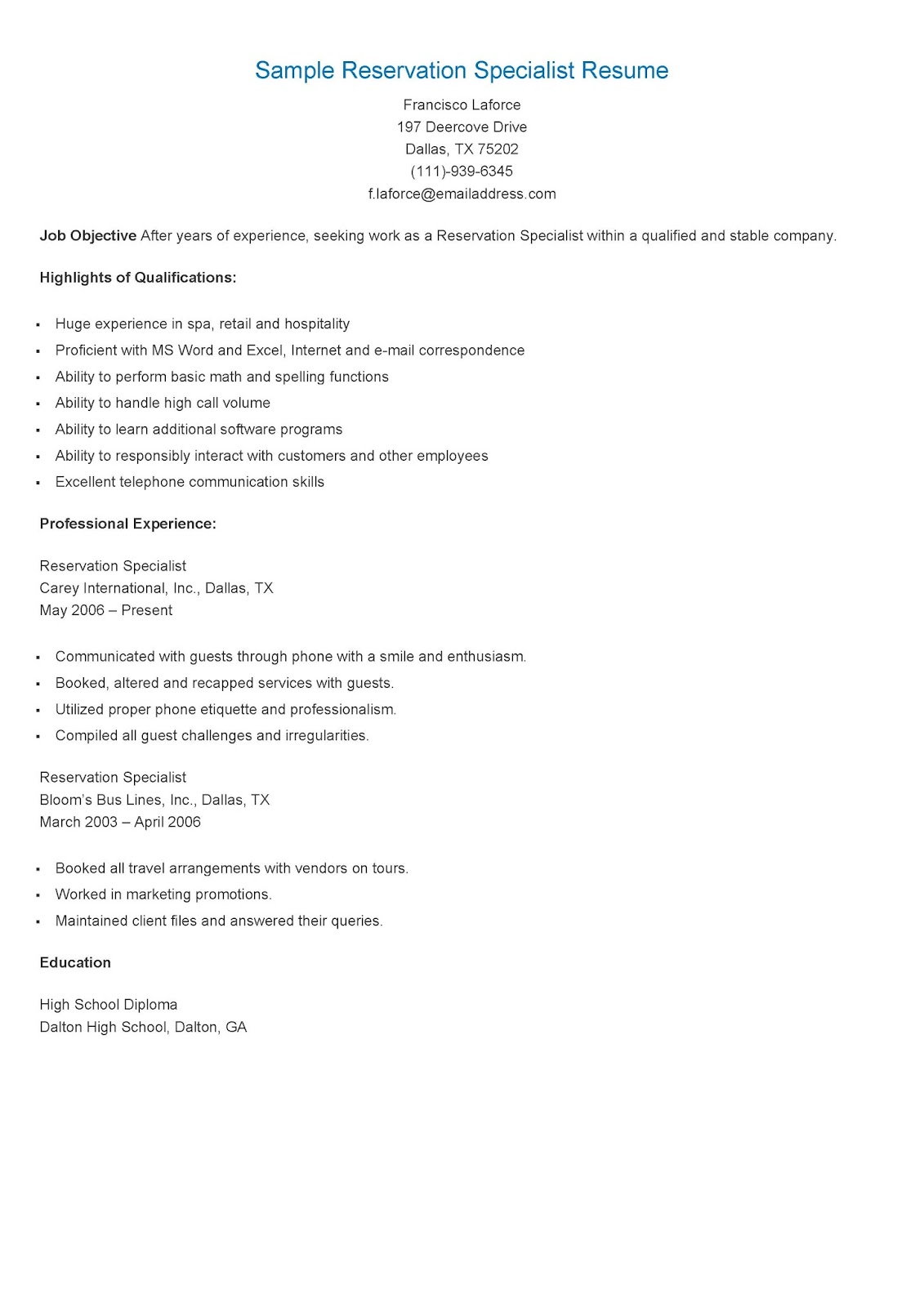 Resume Samples Sample Reservation Specialist Resume