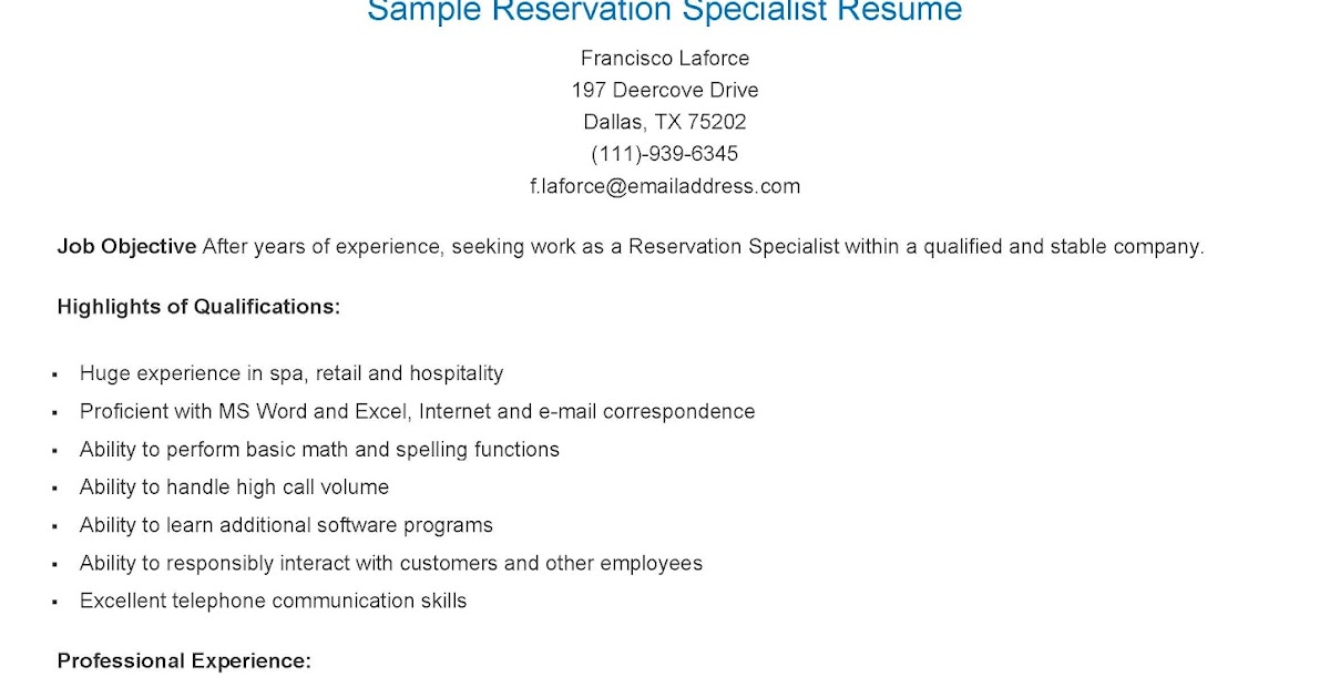 resume samples  sample reservation specialist resume