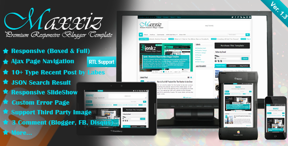 Maxxiz - Responsive Magazine / News Blogger Template Free Download