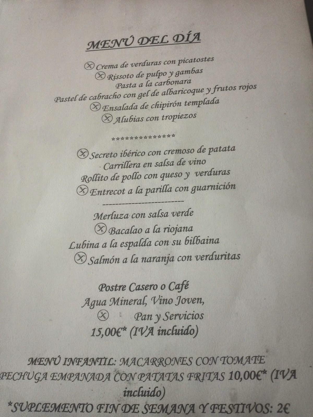Menu of Hotel Centro