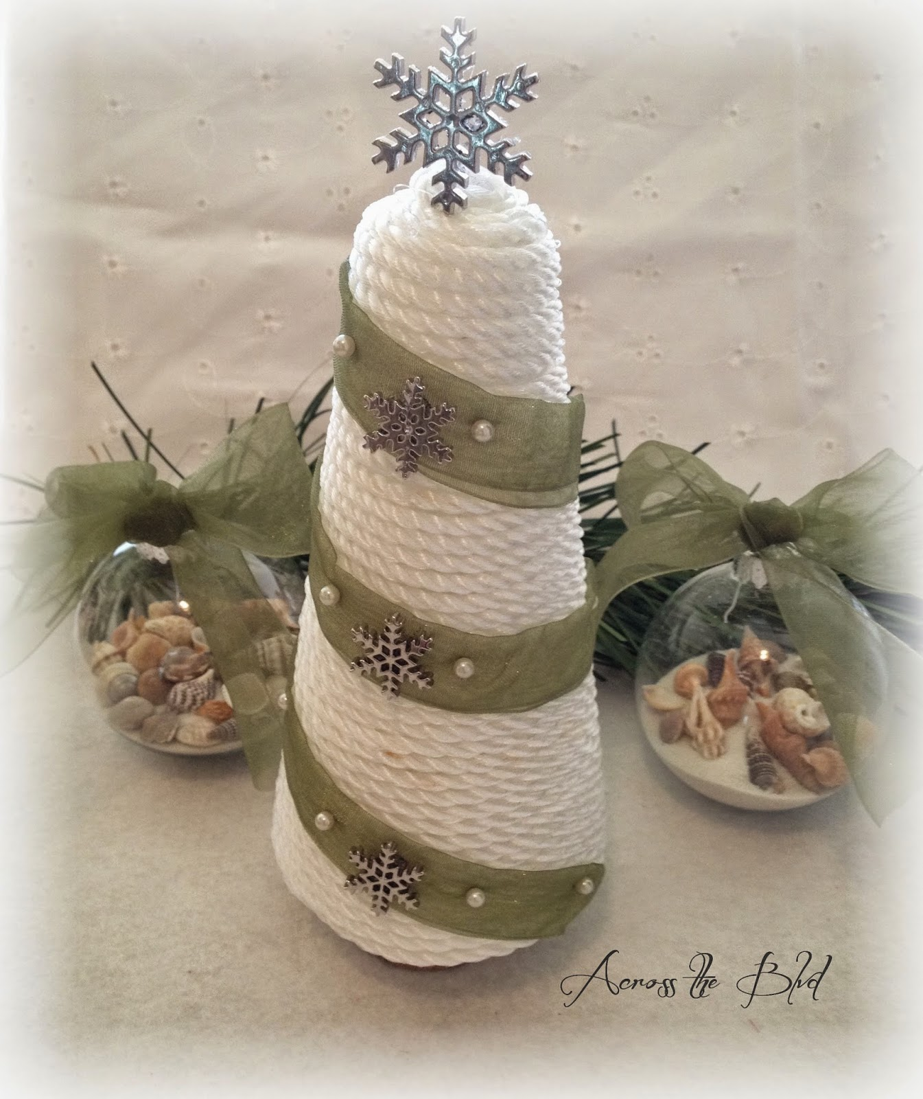 Coastal Cone Tree and Sea Shell Ornaments