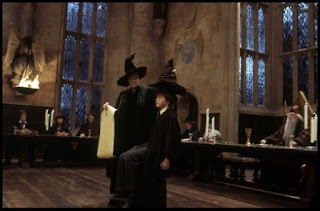 Harry Potter. Sombrero seleccionador. McGonagall y Harry Potter.