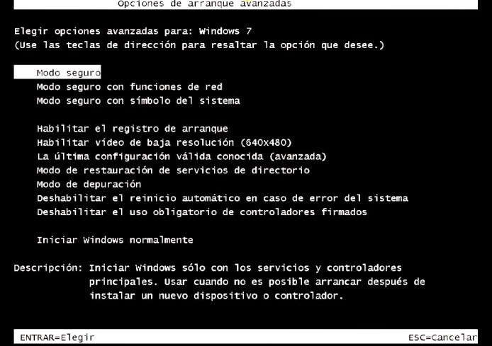 menu opciones arranque windows modo seguro