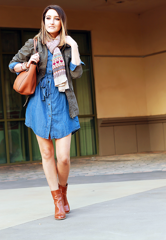 Denim Dress and Military Jacket for Fall